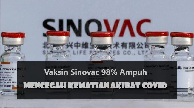 Vaksin Sinovac 98% Ampuh Mencegah Kematian Akibat Covid